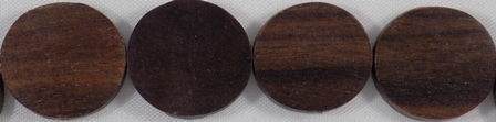 Black ebony wood flat round 15mm