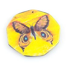 paper print wood pendant octagon butterfly