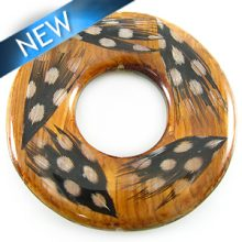 Bayong wood donut with guinea feather 51mm