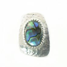 Silver finish hammered metal with paua shell