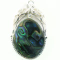 Silver metal framed pendant w/ pau shell wholesale pendants
