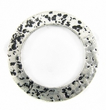 Silver metal O ring 35mm hammered wholesale