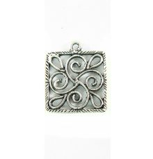 silver metal designed square 21mm wholesale