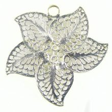 5-pieces petal flower silver finish 40mm wholesale