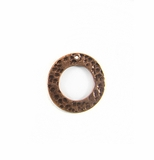 Copper finish metal O ring 18mm hammered wholesale