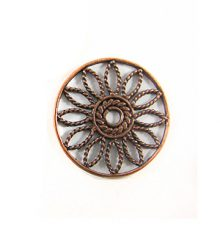 copper finish metal round 25mm flower wholesale