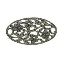 sterling silver Sterling Silver Oval Flower-Design Link