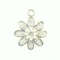 flower charm silver finish 20X30mm wholesale