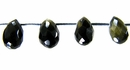 Black obsidian drop 6x9 faceted wholesale gemstones