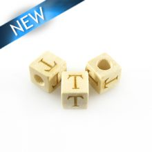 "Alphabet ""T"" white wood bead 8mm square"