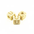 "White wood Alphabet Wood Bead 8mm ""U"""