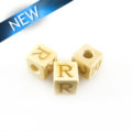 "Alphabet ""R"" white wood bead 8mm square"