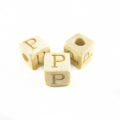 "White wood Alphabet Wood Bead 8mm ""P"""