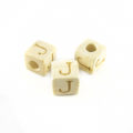"White wood Alphabet Wood Bead 8mm ""J"""