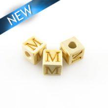 "Alphabet ""M"" white wood bead 8mm square"