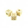 "White wood Square Alphabet Wood Bead 8mm ""N"""