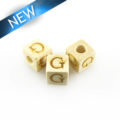 "Alphabet ""G"" white wood bead 8mm square"