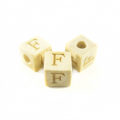 "White wood Alphabet Wood Bead 8mm ""F"""