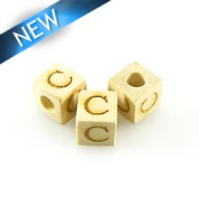 "Alphabet ""C"" white wood bead 8mm square"