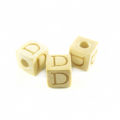 "White wood Alphabet Wood Bead 8mm ""D"""