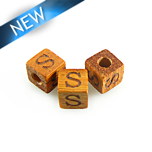 "Alphabet ""S"" wood bead bayong 8mm square"