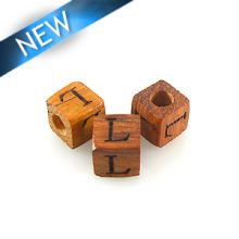 "Alphabet ""L"" wood bead bayong 8mm square"