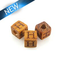 "Alphabet ""H"" wood bead bayong 8mm square"