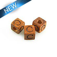 "Alphabet ""C"" wood bead bayong 8mm square"