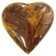 Banana bark inlay heart pendant 55mm dyed yellow
