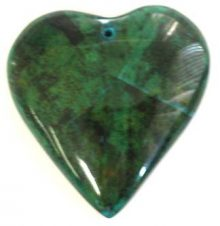 Banana bark inlay heart pendant 55mm blue