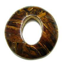 Banana bark inlay round oval with center hole