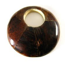 Brown Round Banana bark Inlaid Wood Pendant