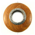 Bayong wood round 50mm metal framed center hole
