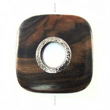 Black ebony wood square metal framed center hole