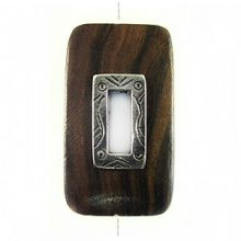 Tiger Ebony rectangle design 45x25mm with a Silver Metal