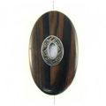 Black ebony wood oval 45mm metal framed center hole.