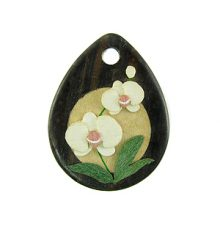 Tiger ebony wood drop with moth orchid design