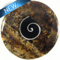 Mahogany w/ Shell Inlay-Resin Back 54mmx7mm Thick Swirl Design