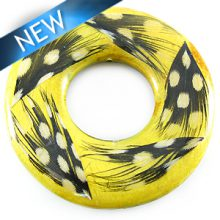 Nangka wood donut with guinea feather 51mm