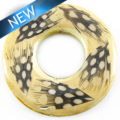White wood donut with guinea feather 51mm