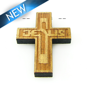 Mahogany wood cross laser designed 22mm
