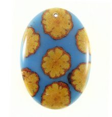 Albutra vine inlay 50x35mm blue oval pendant