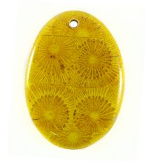 Albutra wood inlay 50x35mm yellow oval pendant
