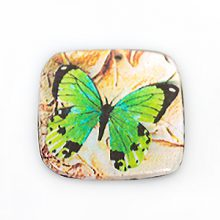 paper print wood pendant flat square butterfly