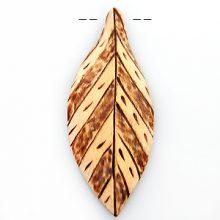 Burnt wood leaf design 21x53x5.5mm