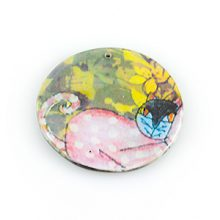 paper print wood pendant flat disc cat design