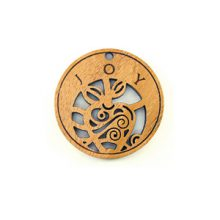 Wooden round message pendant natural-joy