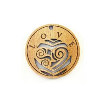 Wooden round message pendant natural-love
