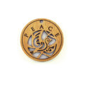 Wooden round message pendant natural-peace