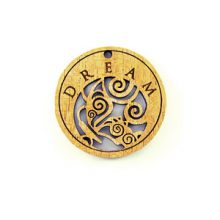 Wooden round message pendant natural-dream